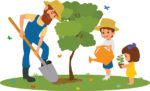 man and the children plant trees in the park.