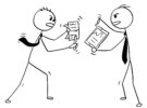 Conceptual Cartoon of Two Businessmen Arguing or Fighting