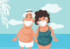 Tourists Wearing Medical Face Masks on Summer Holiday